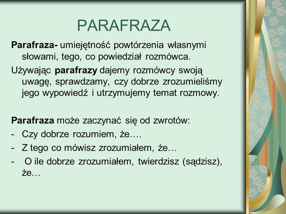 PARAFRAZA Parafraza- umiejętność powtórzenia własnymi słowami, tego, co powiedział rozmówca.