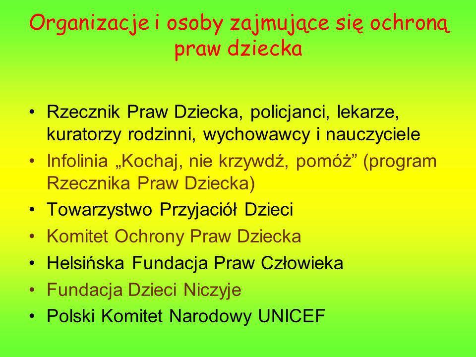 Organizacje i osoby zajmujące się ochroną praw dziecka