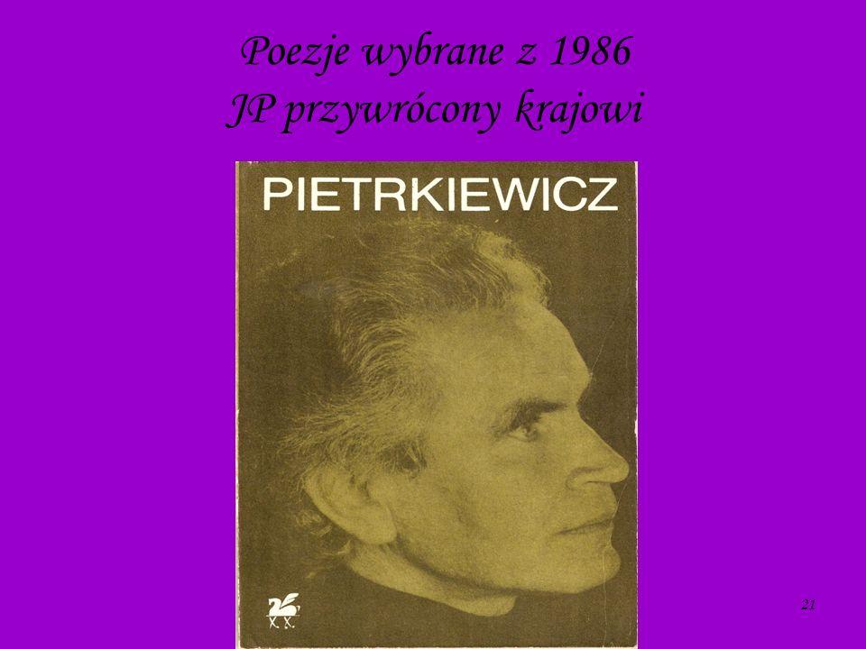 Poezje wybrane z 1986 JP przywrócony krajowi