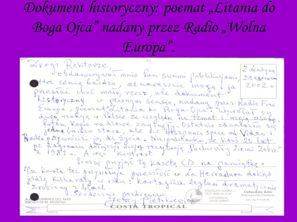 """Dokument historyczny: poemat """"Litania do Boga Ojca nadany przez Radio """"Wolna Europa ."""