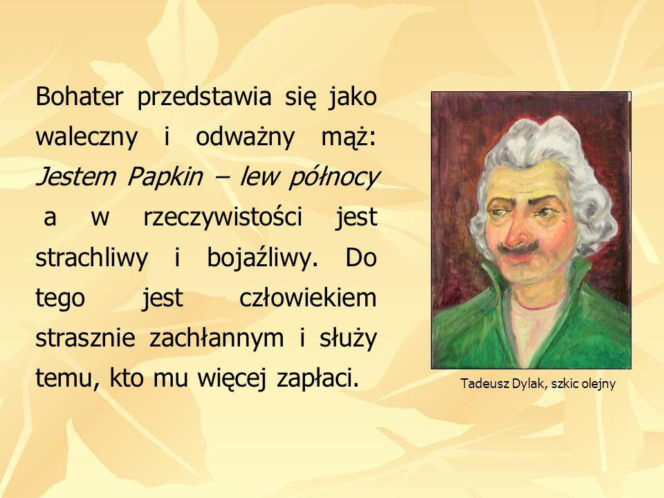 Tadeusz Dylak, szkic olejny