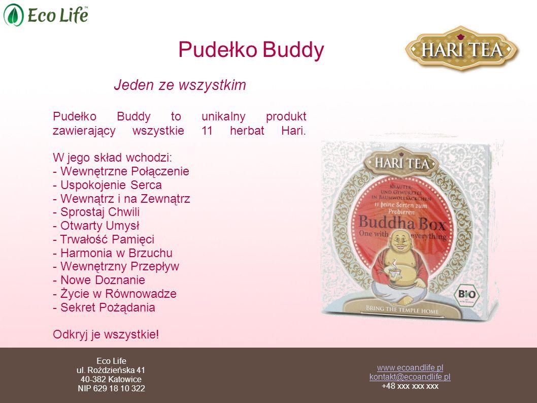 Pudełko Buddy Jeden ze wszystkim. Pudełko Buddy to unikalny produkt zawierający wszystkie 11 herbat Hari. W jego skład wchodzi: