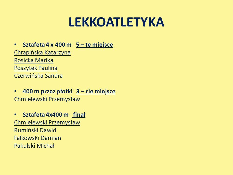 LEKKOATLETYKA Sztafeta 4 x 400 m 5 – te miejsce Chrapińska Katarzyna