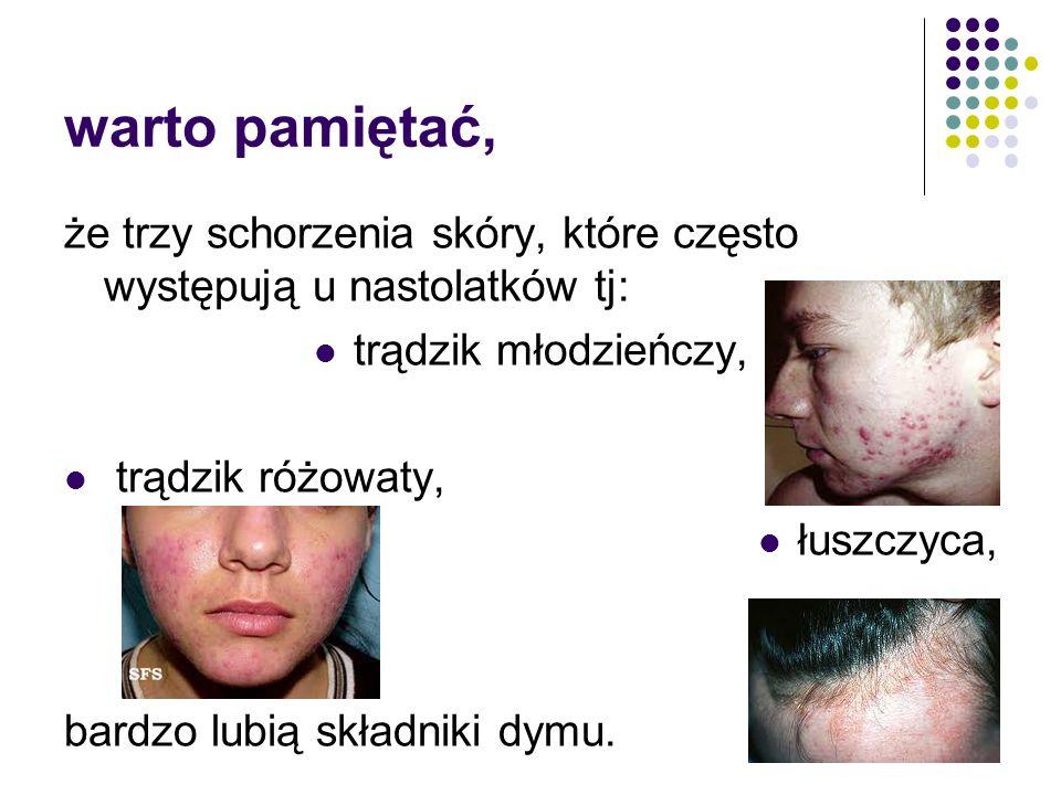 warto pamiętać, że trzy schorzenia skóry, które często występują u nastolatków tj: trądzik młodzieńczy,