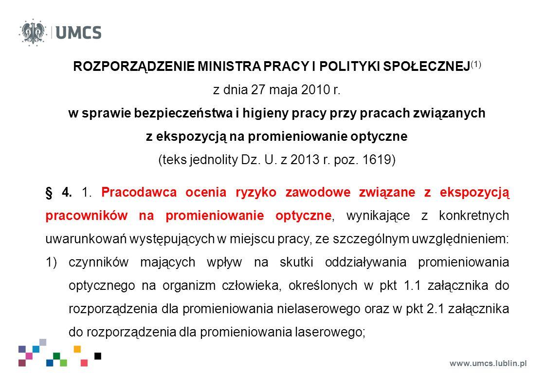 ROZPORZĄDZENIE MINISTRA PRACY I POLITYKI SPOŁECZNEJ(1)