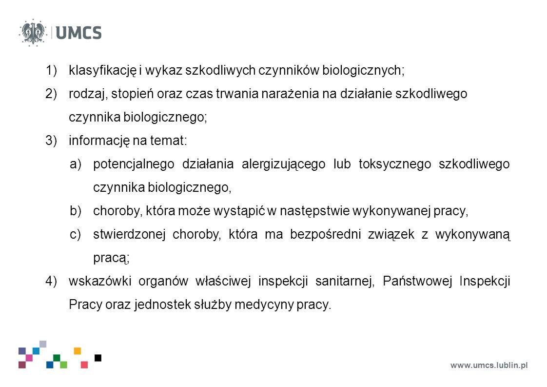 klasyfikację i wykaz szkodliwych czynników biologicznych;