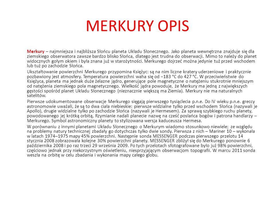 MERKURY OPIS
