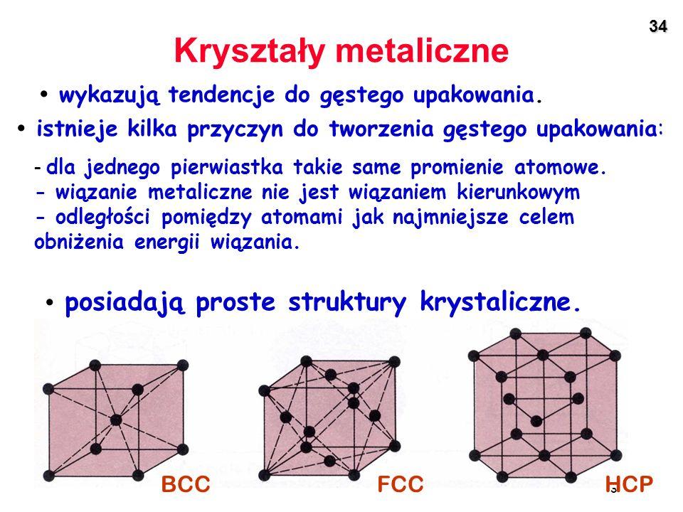 Kryształy metaliczne • wykazują tendencje do gęstego upakowania.