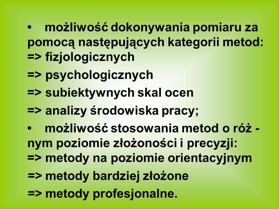 • możliwość dokonywania pomiaru za pomocą następujących kategorii metod: => fizjologicznych