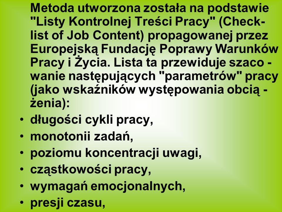 Metoda utworzona została na podstawie Listy Kontrolnej Treści Pracy (Check-list of Job Content) propagowanej przez Europejską Fundację Poprawy Warunków Pracy i Życia. Lista ta przewiduje szaco -wanie następujących parametrów pracy (jako wskaźników występowania obcią -żenia):