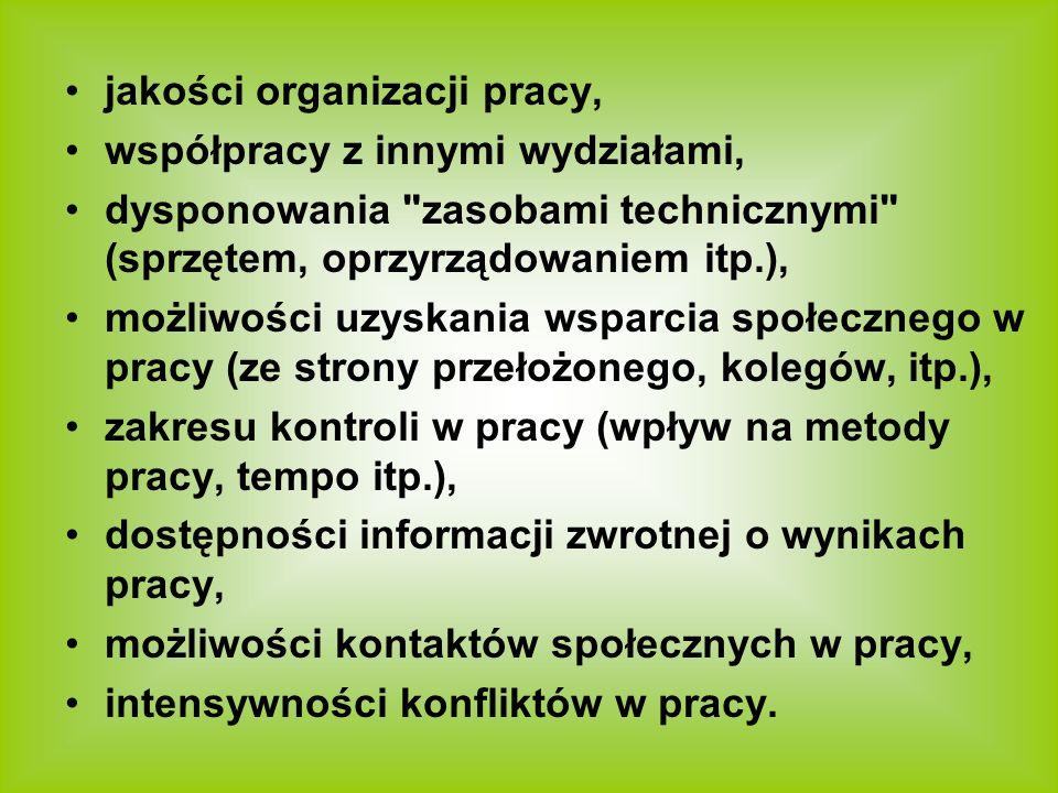 jakości organizacji pracy,