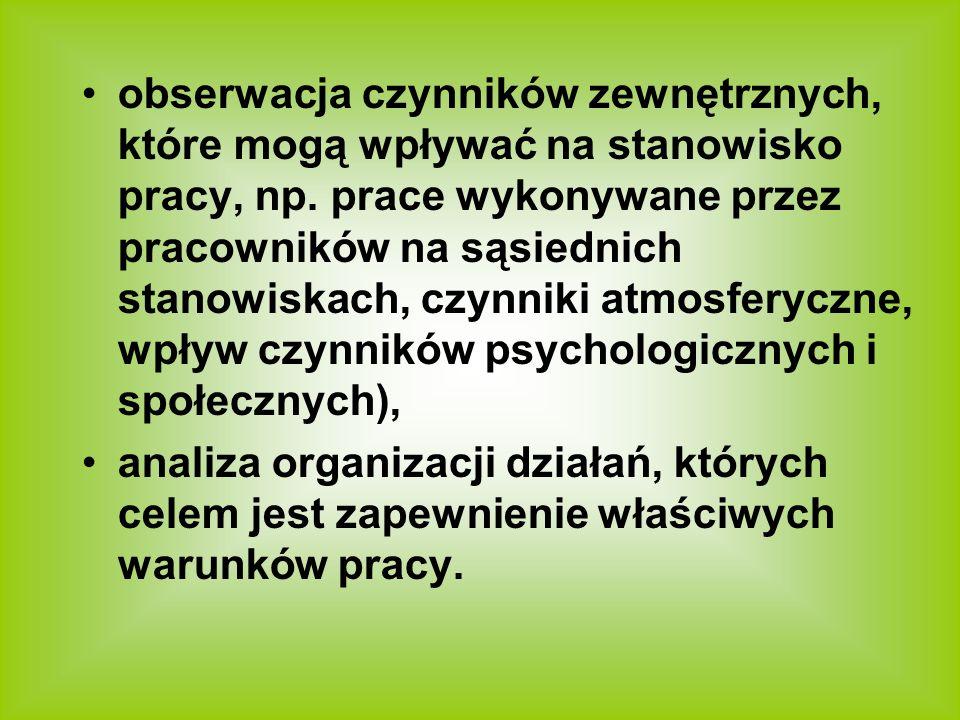 obserwacja czynników zewnętrznych, które mogą wpływać na stanowisko pracy, np. prace wykonywane przez pracowników na sąsiednich stanowiskach, czynniki atmosferyczne, wpływ czynników psychologicznych i społecznych),