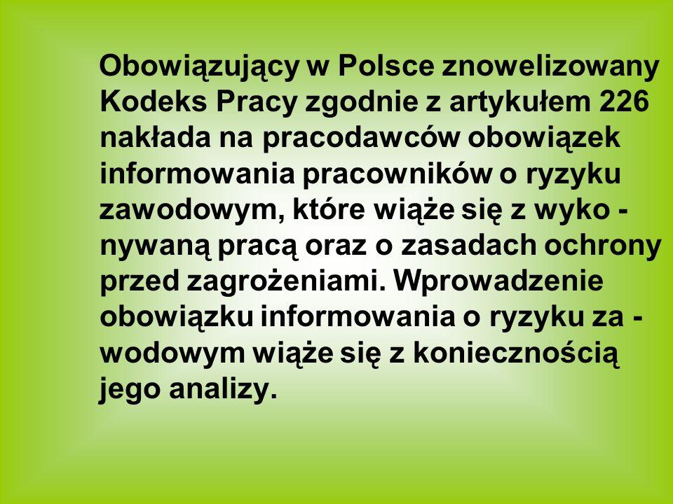 Obowiązujący w Polsce znowelizowany Kodeks Pracy zgodnie z artykułem 226 nakłada na pracodawców obowiązek informowania pracowników o ryzyku zawodowym, które wiąże się z wyko -nywaną pracą oraz o zasadach ochrony przed zagrożeniami.
