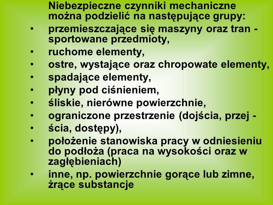 Niebezpieczne czynniki mechaniczne można podzielić na następujące grupy: