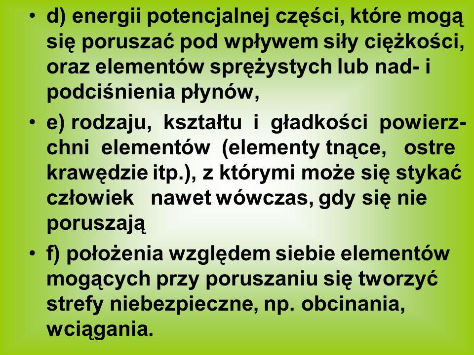 d) energii potencjalnej części, które mogą się poruszać pod wpływem siły ciężkości, oraz elementów sprężystych lub nad- i podciśnienia płynów,