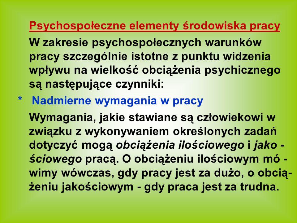 Psychospołeczne elementy środowiska pracy
