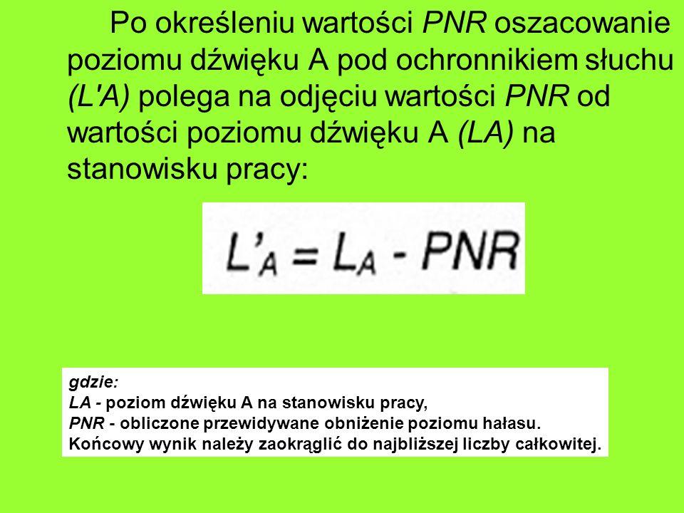 Po określeniu wartości PNR oszacowanie poziomu dźwięku A pod ochronnikiem słuchu (L A) polega na odjęciu wartości PNR od wartości poziomu dźwięku A (LA) na stanowisku pracy: