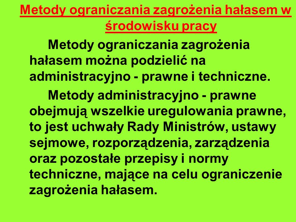 Metody ograniczania zagrożenia hałasem w środowisku pracy