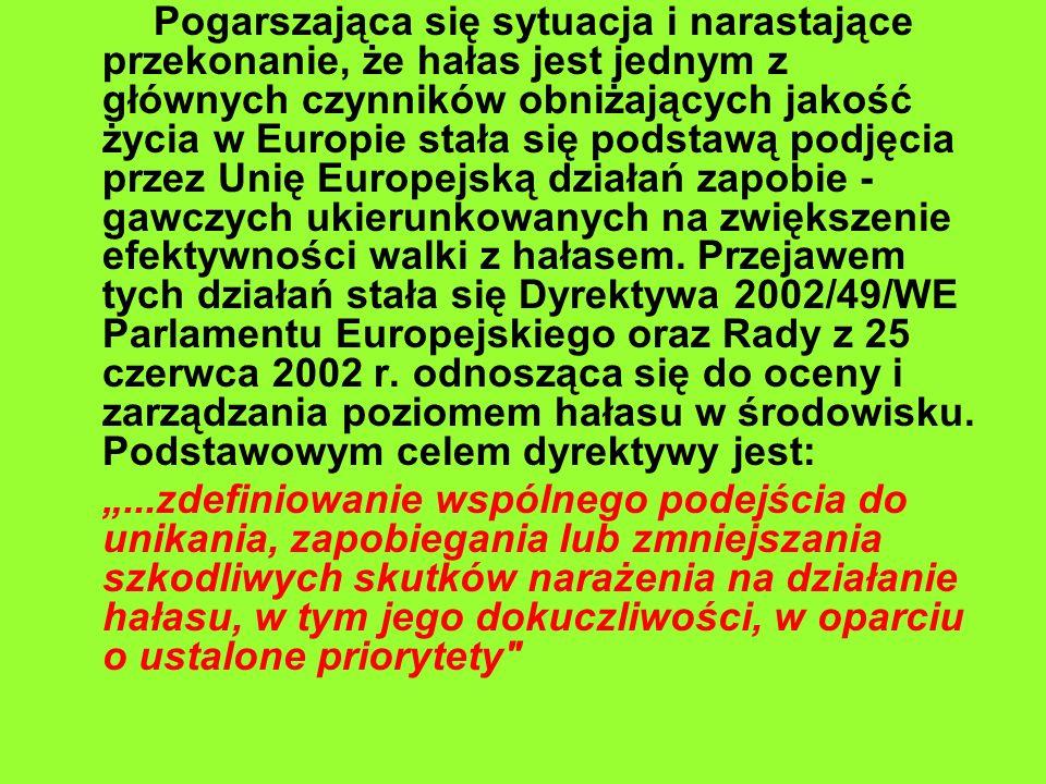 Pogarszająca się sytuacja i narastające przekonanie, że hałas jest jednym z głównych czynników obniżających jakość życia w Europie stała się podstawą podjęcia przez Unię Europejską działań zapobie -gawczych ukierunkowanych na zwiększenie efektywności walki z hałasem. Przejawem tych działań stała się Dyrektywa 2002/49/WE Parlamentu Europejskiego oraz Rady z 25 czerwca 2002 r. odnosząca się do oceny i zarządzania poziomem hałasu w środowisku. Podstawowym celem dyrektywy jest: