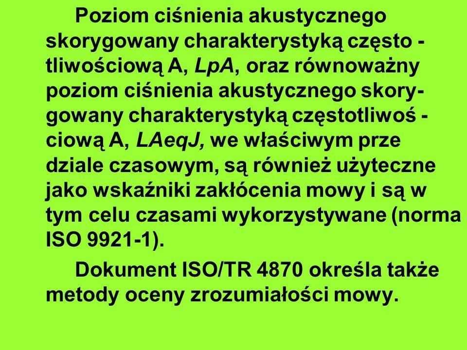 Poziom ciśnienia akustycznego skorygowany charakterystyką często -tliwościową A, LpA, oraz równoważny poziom ciśnienia akustycznego skory- gowany charakterystyką częstotliwoś -ciową A, LAeqJ, we właściwym prze dziale czasowym, są również użyteczne jako wskaźniki zakłócenia mowy i są w tym celu czasami wykorzystywane (norma ISO 9921-1).