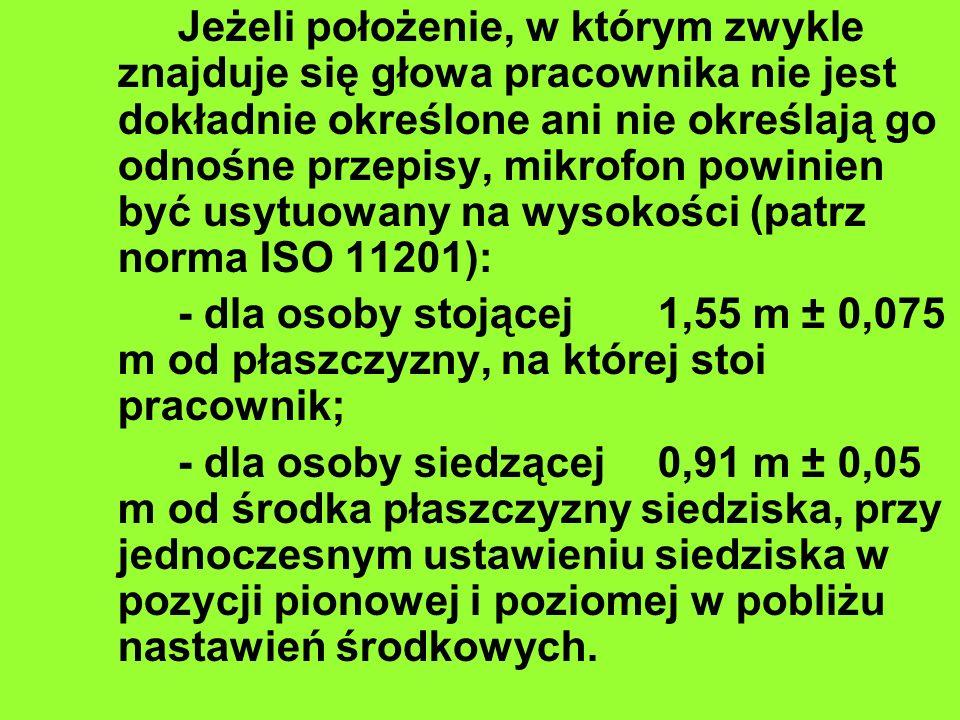 Jeżeli położenie, w którym zwykle znajduje się głowa pracownika nie jest dokładnie określone ani nie określają go odnośne przepisy, mikrofon powinien być usytuowany na wysokości (patrz norma ISO 11201):