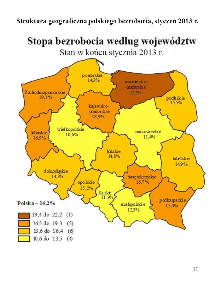 Struktura geograficzna polskiego bezrobocia, styczeń 2013 r.