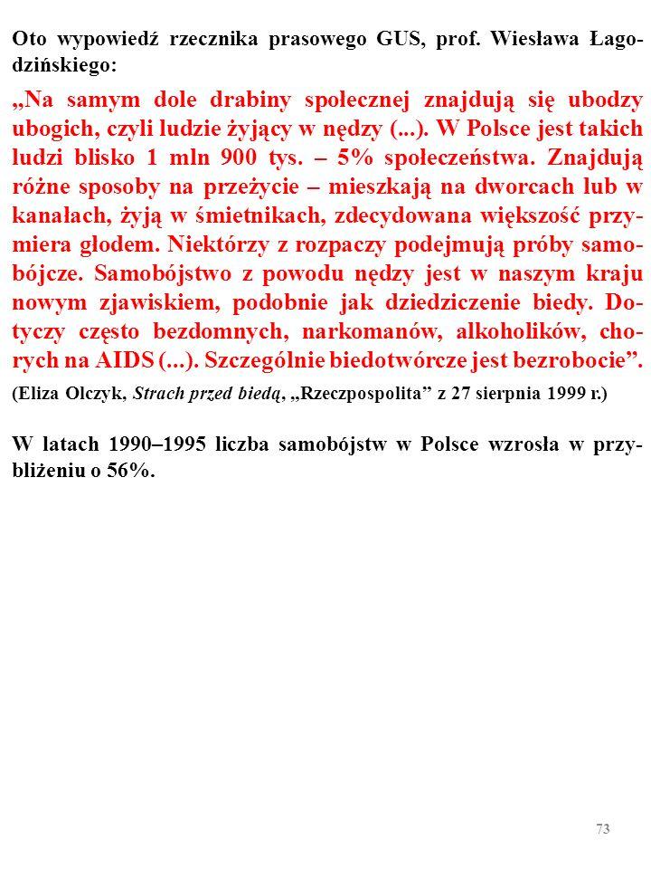 Oto wypowiedź rzecznika prasowego GUS, prof. Wiesława Łago-dzińskiego: