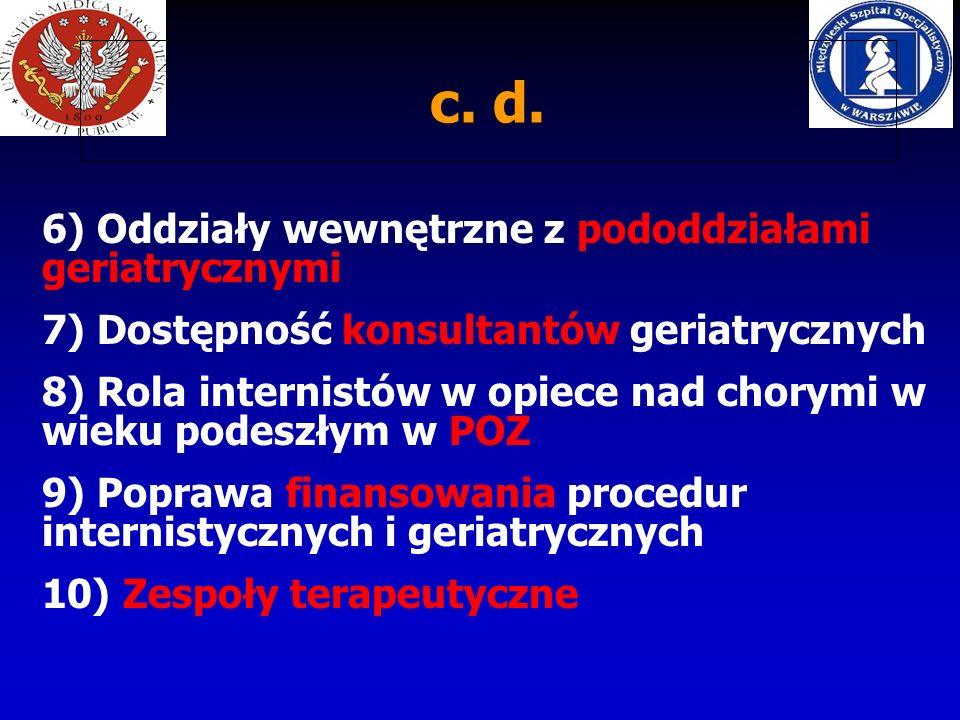 c. d. 6) Oddziały wewnętrzne z pododdziałami geriatrycznymi
