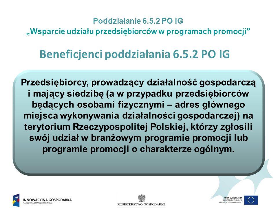 Beneficjenci poddziałania 6.5.2 PO IG