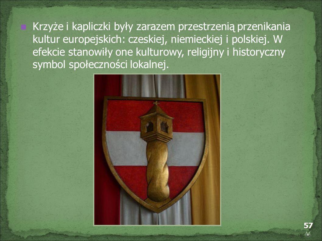 Krzyże i kapliczki były zarazem przestrzenią przenikania kultur europejskich: czeskiej, niemieckiej i polskiej.