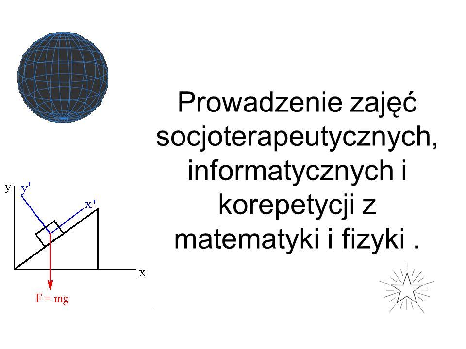 Prowadzenie zajęć socjoterapeutycznych, informatycznych i korepetycji z matematyki i fizyki .