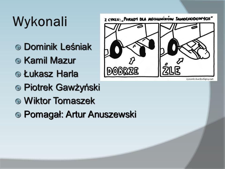 Wykonali Dominik Leśniak Kamil Mazur Łukasz Harla Piotrek Gawżyński