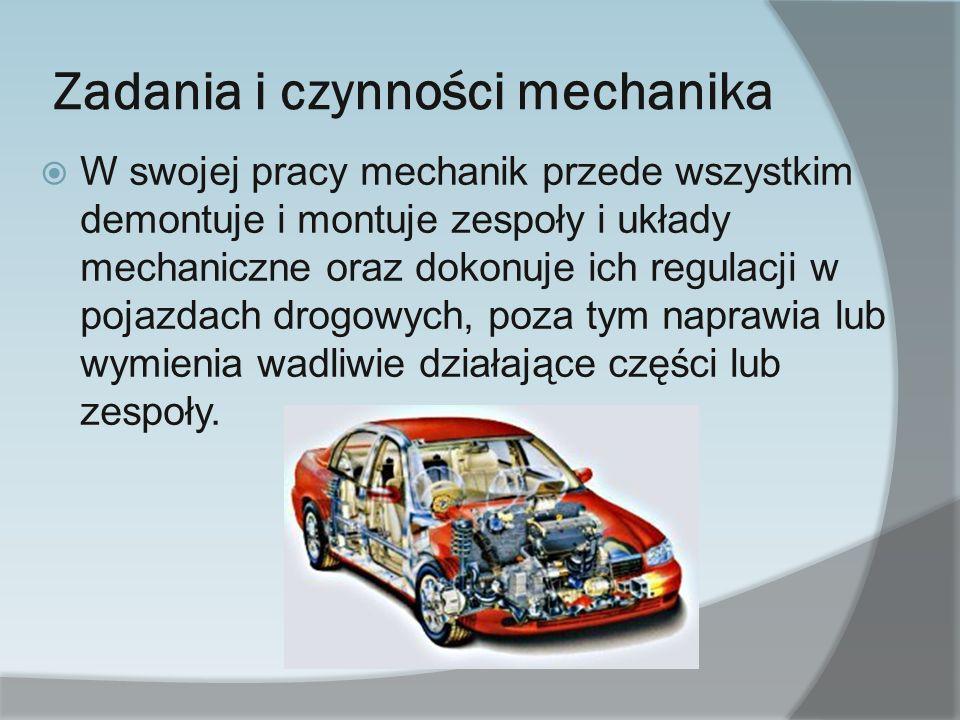 Zadania i czynności mechanika