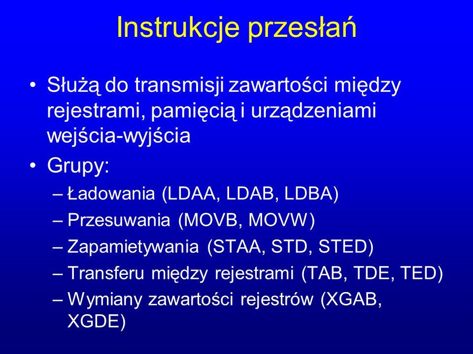 Instrukcje przesłań Służą do transmisji zawartości między rejestrami, pamięcią i urządzeniami wejścia-wyjścia.