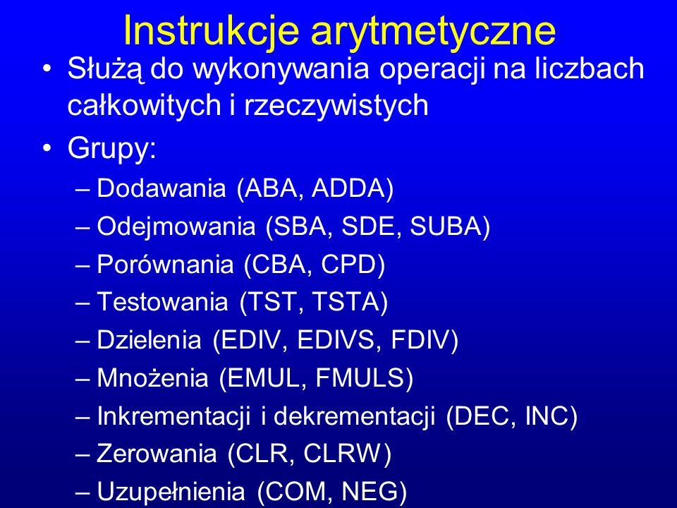 Instrukcje arytmetyczne