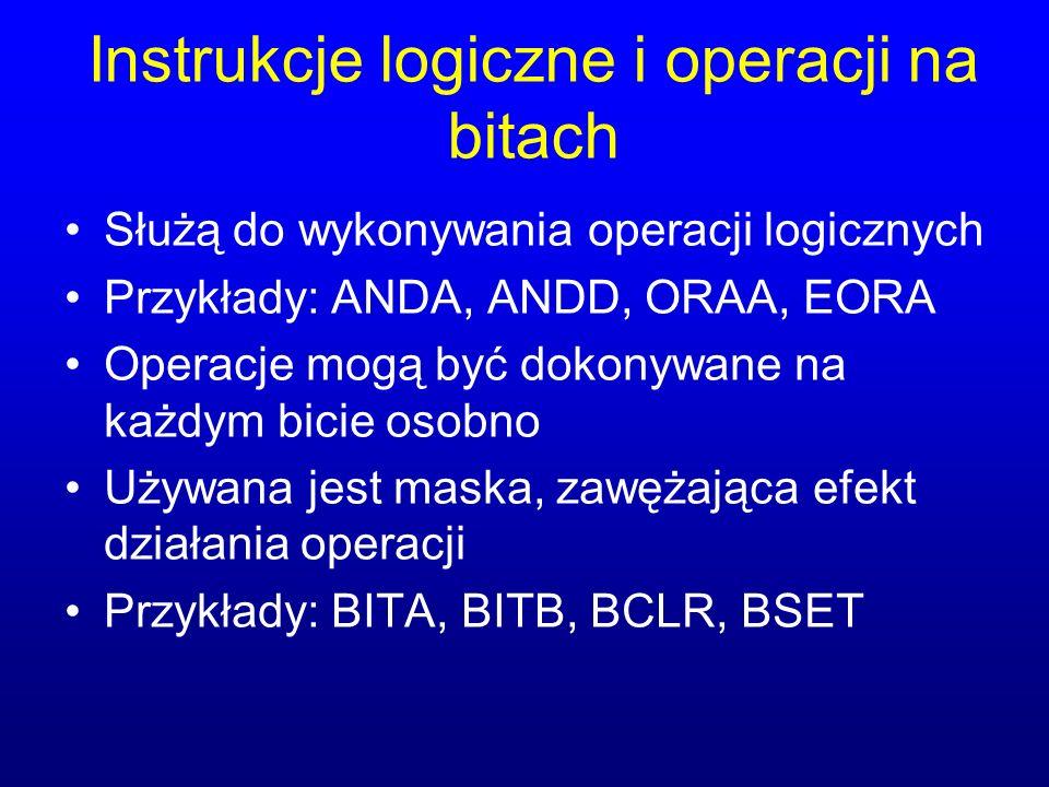 Instrukcje logiczne i operacji na bitach