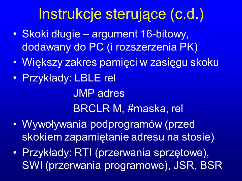 Instrukcje sterujące (c.d.)