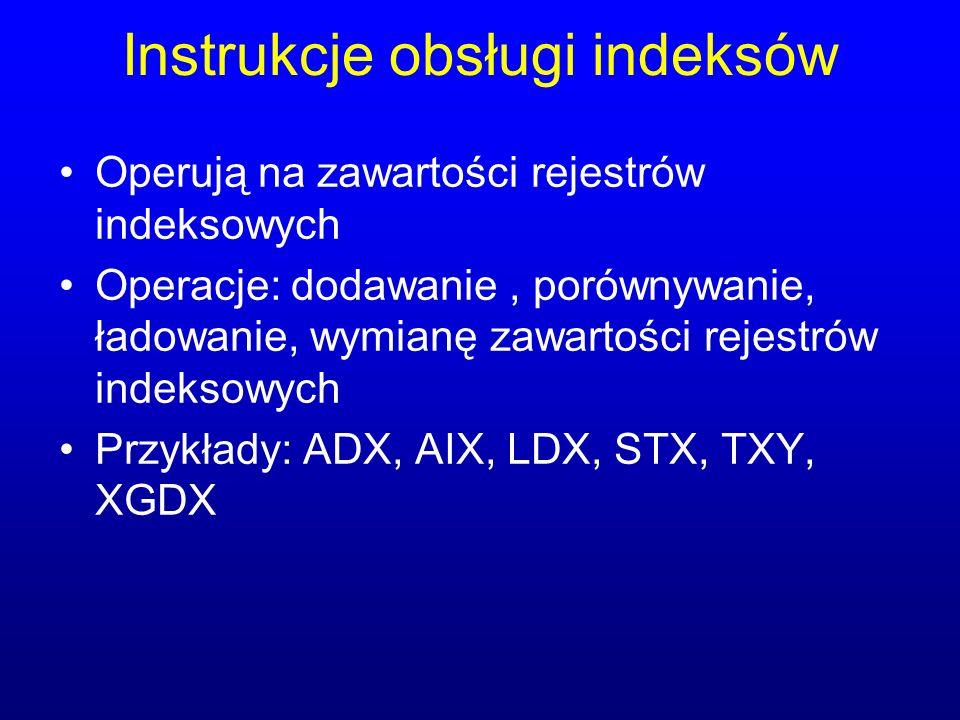 Instrukcje obsługi indeksów