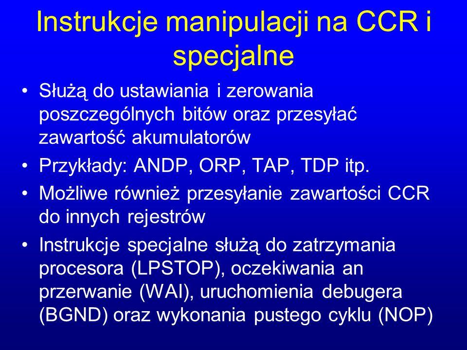 Instrukcje manipulacji na CCR i specjalne