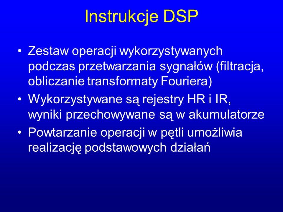 Instrukcje DSP Zestaw operacji wykorzystywanych podczas przetwarzania sygnałów (filtracja, obliczanie transformaty Fouriera)