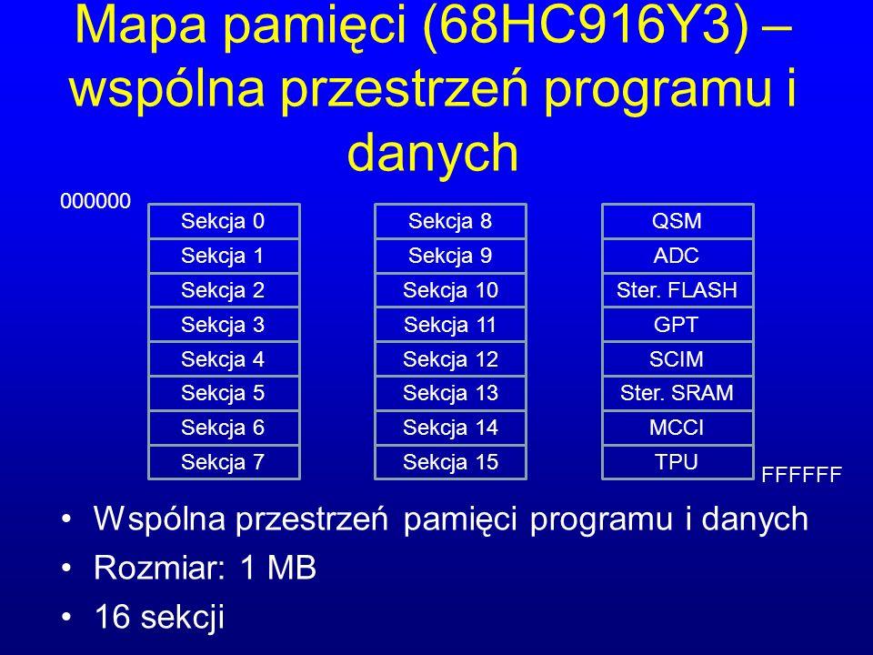 Mapa pamięci (68HC916Y3) – wspólna przestrzeń programu i danych
