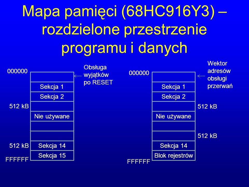 Mapa pamięci (68HC916Y3) – rozdzielone przestrzenie programu i danych