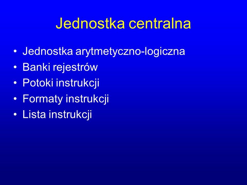 Jednostka centralna Jednostka arytmetyczno-logiczna Banki rejestrów