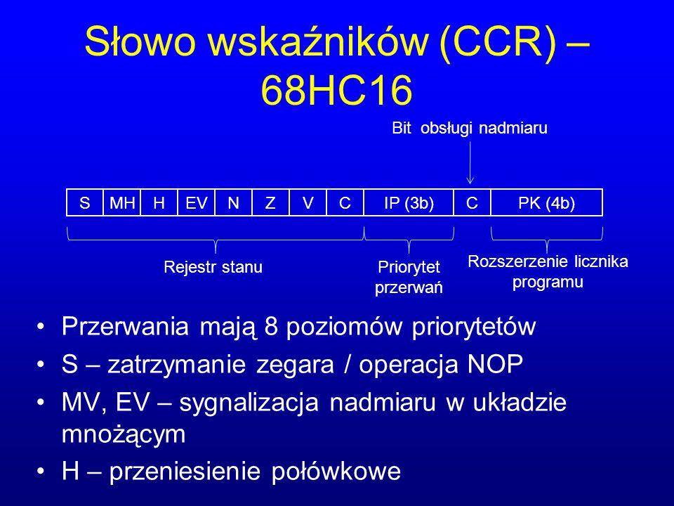 Słowo wskaźników (CCR) – 68HC16