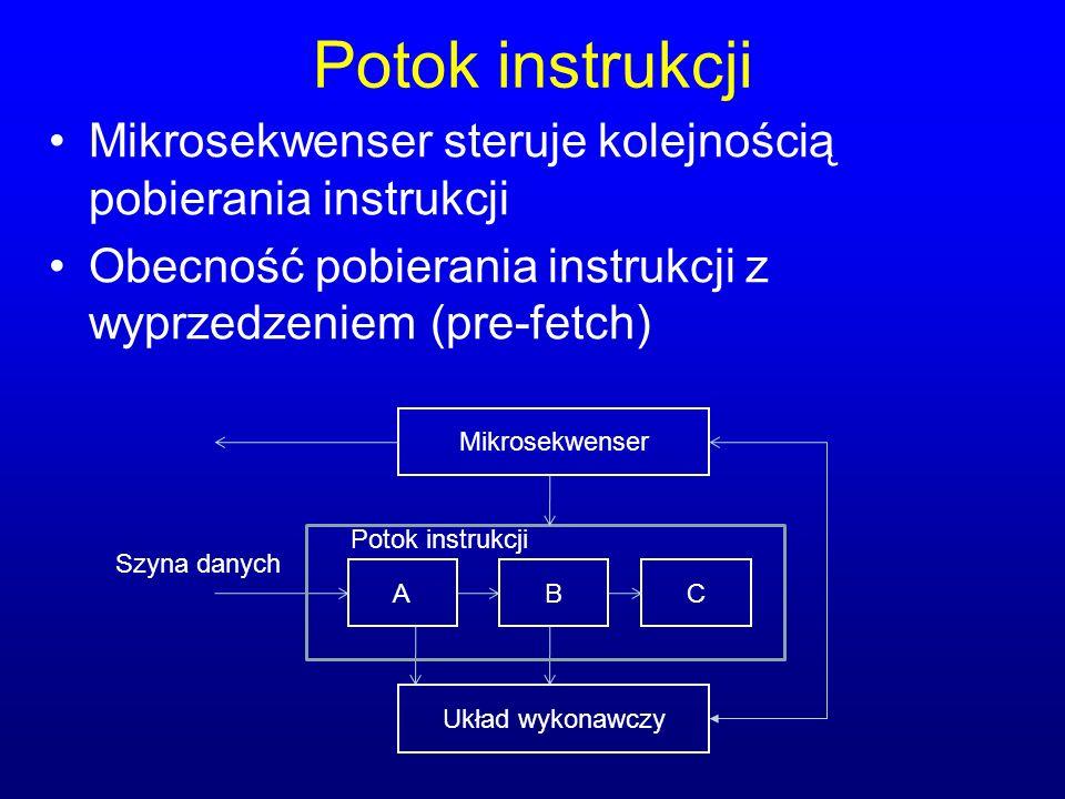 Potok instrukcji Mikrosekwenser steruje kolejnością pobierania instrukcji. Obecność pobierania instrukcji z wyprzedzeniem (pre-fetch)