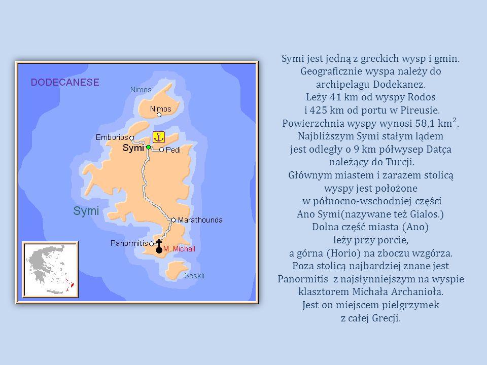 Powierzchnia wyspy wynosi 58,1 km². Najbliższym Symi stałym lądem