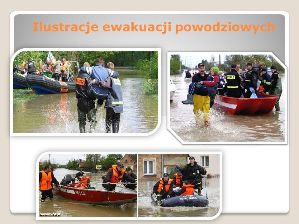 Ilustracje ewakuacji powodziowych