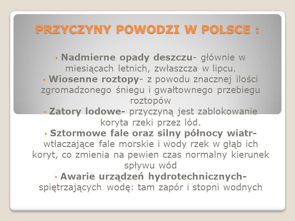 PRZYCZYNY POWODZI W POLSCE :