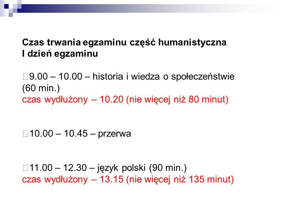 Czas trwania egzaminu część humanistyczna
