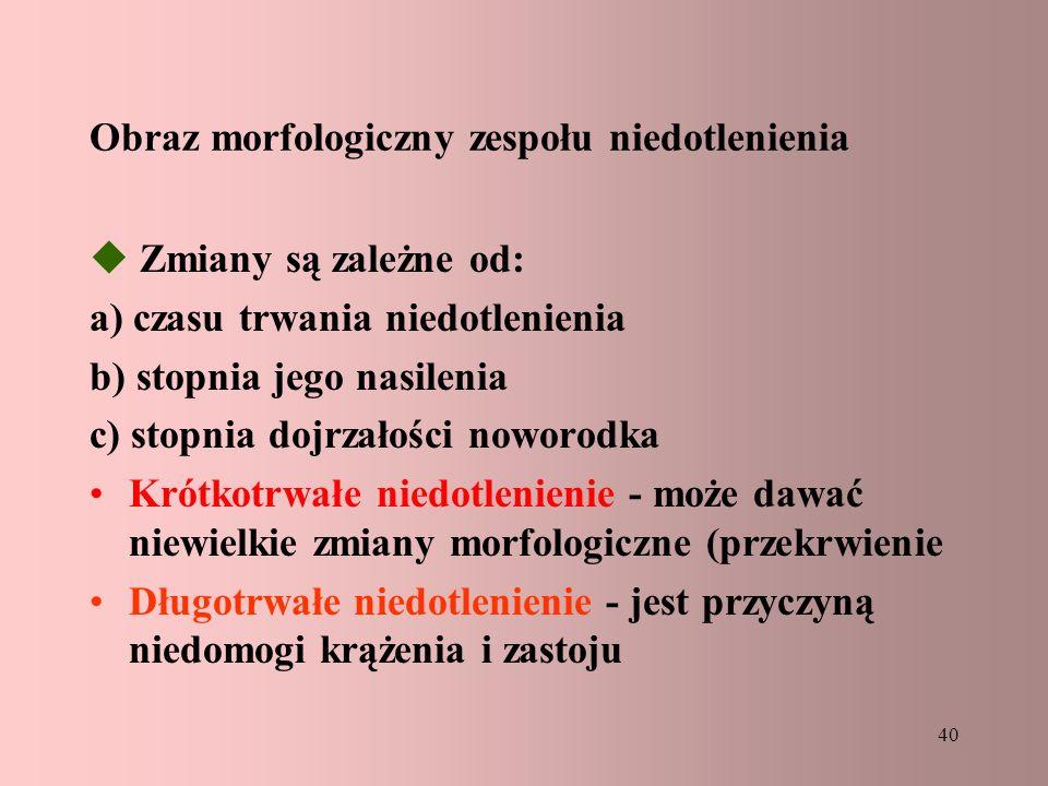 Obraz morfologiczny zespołu niedotlenienia